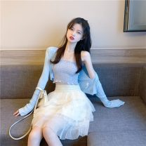 skirt Spring 2021 Average size Little sling, cardigan, skirt Short skirt commute High waist A-line skirt Solid color 18-24 years old 0318+ 31% (inclusive) - 50% (inclusive) Other / other polyester fiber Lace Retro