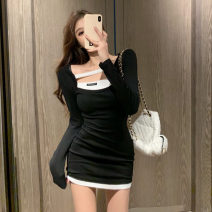 Dress Winter 2020 black Average size Short skirt singleton  Long sleeves commute square neck High waist other Socket A-line skirt routine Others 18-24 years old Type A Other / other Retro Splicing 1224+ 81% (inclusive) - 90% (inclusive) cotton