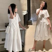 Dress Other / other white M,L,XL,XXL Korean version Short sleeve Medium length summer V-neck Solid color cotton spinning