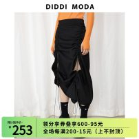 skirt Spring 2021 S, M Black, black pre-sale longuette commute Natural waist Irregular Solid color Type A 25-29 years old 71% (inclusive) - 80% (inclusive) polyester fiber Asymmetry