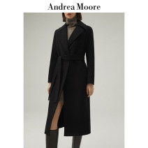 woolen coat Autumn 2020 S M L XL XXL Camel black wool 95% and above Medium length Long sleeves commute Frenulum routine tailored collar Solid color Self cultivation Andrea Moore 25-29 years old pocket Solid color Wool 100% Pure e-commerce (online only)