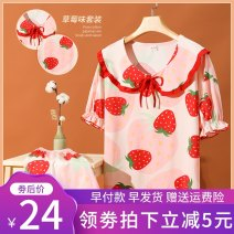Pajamas / housewear set female Lycra step M,L,XL,XXL cotton Short sleeve Sweet Leisure home summer Thin money Crew neck Plants and flowers shorts Socket youth 2 pieces rubber string More than 95% pure cotton printing 200g and below