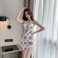 Dress Summer 2021 Picture color S,M,L,XL Short skirt Sweet V-neck High waist Decor Socket A-line skirt camisole 18-24 years old Type A 30% and below brocade cotton