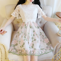 Dress Summer 2020 Green, blue grey S,M,L,XL longuette Fake two pieces Short sleeve One word collar High waist zipper Big swing pagoda sleeve Others 18-24 years old Type A Other / other bow 31% (inclusive) - 50% (inclusive) Lace
