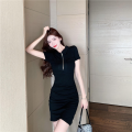 Dress Spring 2021 black S,M,L Pleated, zipper 7666# other cotton