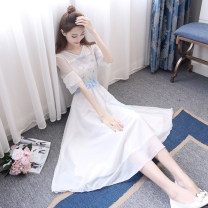 Dress Summer 2021 White, delivery on the same day! S,M,L,XL longuette singleton  Short sleeve Sweet V-neck High waist Solid color A button Big swing pagoda sleeve Others 18-24 years old Type A Other / other Bow tie 81% (inclusive) - 90% (inclusive) Chiffon Bohemia