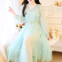 Dress Spring 2020 Apricot, green S,M,L Mid length dress Two piece set Long sleeves Sweet V-neck middle-waisted Solid color Socket Big swing puff sleeve Others 18-24 years old Type A Hollow out, gauze 31% (inclusive) - 50% (inclusive) polyester fiber Mori