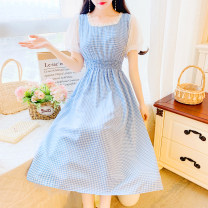 Dress Summer 2020 Blue, purple, red S,M,L Mid length dress singleton  Short sleeve commute square neck middle-waisted lattice Socket A-line skirt puff sleeve Others 18-24 years old Type A Retro Bowknot, Auricularia auricula, lace, stitching, bandage 31% (inclusive) - 50% (inclusive) Chiffon cotton