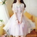 Dress Summer 2020 Pink, purple S,M,L Two piece set Short sleeve Sweet Crew neck High waist Solid color Socket Princess Dress other Others 18-24 years old Type A Other / other 71% (inclusive) - 80% (inclusive) other other Mori