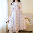 Dress Summer 2020 Blue, apricot and pink S,M,L,XL,2XL longuette singleton  elbow sleeve commute V-neck Loose waist Decor zipper Big swing routine Others 18-24 years old Type A Other / other Retro Print, bandage, tie Chiffon Cellulose acetate