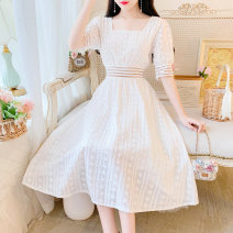 Dress Spring 2020 white S,M,L Mid length dress singleton  Short sleeve Sweet square neck middle-waisted Solid color zipper A-line skirt bishop sleeve Others 18-24 years old Type A Embroidery, Gouhua and hollowing out 31% (inclusive) - 50% (inclusive) cotton Mori