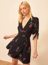 Dress Summer 2020 black L,S,M Short skirt singleton  V-neck Broken flowers