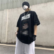 T-shirt Youth fashion Black, white, light green routine M,L,XL,2XL Others Short sleeve Crew neck easy Other leisure summer 21-2-12 teenagers routine tide Cotton wool character printing cotton Creative interest No iron treatment