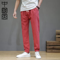 Casual pants Grass ink Youth fashion Grey Navy beige Two Pack Black Red Army Green M L XL 2XL 3XL 4XL 5XL routine Ninth pants Other leisure easy Micro bomb CM21.3.3.01 summer teenagers 2021 middle-waisted Little feet Cotton 95% other 5% Haren pants No iron treatment cotton Spring 2021