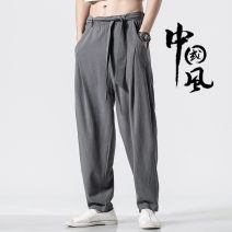 Casual pants Grass ink Youth fashion Black Khaki Brown grey M L XL 2XL 3XL 4XL 5XL routine trousers Other leisure easy No bullet CM12.29.12 Four seasons youth Chinese style 2019 Medium low back Little feet Cotton 70% flax 30% Haren pants No iron treatment Solid color Winter of 2019