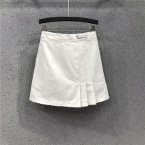 skirt Summer of 2019 S M L XL white Short skirt street High waist A-line skirt Solid color Type A 25-29 years old Y19H1803 71% (inclusive) - 80% (inclusive) Denim AI Tianli cotton Pleated zipper Cotton 80% polyester 20% Pure e-commerce (online only) Europe and America