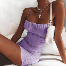 Dress Summer 2020 Purple, black S,M,L Short skirt singleton  Sleeveless street other High waist Solid color Socket One pace skirt other camisole 18-24 years old Type H InstaHot Fold, splice 23246p 81% (inclusive) - 90% (inclusive) other polyester fiber Europe and America