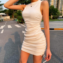Dress Summer 2021 White, black, green, khaki, light blue, pink, brown S,M,L Middle-skirt singleton  Sleeveless street Crew neck High waist Solid color Socket One pace skirt other Others 18-24 years old Type H InstaHot Fold, splice 21001p 81% (inclusive) - 90% (inclusive) other polyester fiber