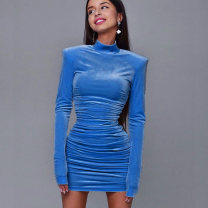 Dress Autumn 2020 Apricot, black, blue S,M,L Short skirt singleton  Long sleeves street High collar High waist Solid color Socket One pace skirt routine Others 18-24 years old Type H InstaHot Splicing 23316p other polyester fiber Europe and America