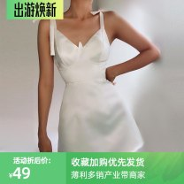 Dress Spring 2021 White, black, red S,M,L Short skirt singleton  Sleeveless street V-neck High waist Solid color Socket A-line skirt other camisole 18-24 years old Type H InstaHot Splicing, bandage 25549P 81% (inclusive) - 90% (inclusive) other polyester fiber Europe and America