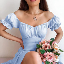 Dress Spring 2021 White, blue, dark pink S,M,L Mid length dress singleton  Short sleeve street One word collar High waist Solid color Socket Big swing puff sleeve Others 18-24 years old Type H InstaHot Fold, splice 213019P 81% (inclusive) - 90% (inclusive) other polyester fiber Europe and America