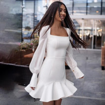 Dress Winter 2020 Blue, white S,M,L Short skirt singleton  Long sleeves street square neck High waist Solid color Socket Ruffle Skirt bishop sleeve Others 18-24 years old Type H InstaHot Splicing, mesh 27539P 81% (inclusive) - 90% (inclusive) other polyester fiber Europe and America