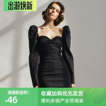 Dress Spring 2021 Black, red S,M,L Middle-skirt singleton  Long sleeves street square neck High waist Solid color Socket A-line skirt routine Others 18-24 years old Type H InstaHot 81% (inclusive) - 90% (inclusive) other polyester fiber Europe and America