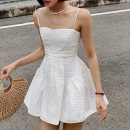 Dress Summer 2021 white S,M,L Short skirt singleton  Sleeveless street One word collar High waist Solid color Socket Princess Dress other camisole 18-24 years old Type A InstaHot Splicing 215026P 81% (inclusive) - 90% (inclusive) other polyester fiber Europe and America