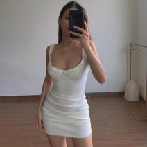 Dress Summer 2020 S,M,L Middle-skirt singleton  Sleeveless street other High waist Solid color Socket One pace skirt other camisole 18-24 years old Type H InstaHot fold 81% (inclusive) - 90% (inclusive) other polyester fiber Europe and America