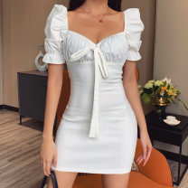 Dress Summer 2020 White, black S,M,L Short skirt singleton  Short sleeve street square neck High waist Solid color Socket One pace skirt puff sleeve Others 18-24 years old Type H InstaHot Bowknot, stitching 81% (inclusive) - 90% (inclusive) other polyester fiber Europe and America