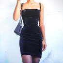 Dress Summer 2021 black S,M,L Middle-skirt singleton  Sleeveless street One word collar High waist Solid color Socket One pace skirt routine camisole 18-24 years old Type H InstaHot Fold, suede 90554P 81% (inclusive) - 90% (inclusive) other polyester fiber Europe and America