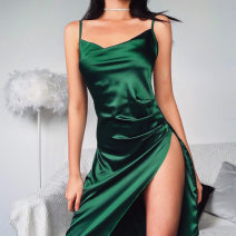 Dress Summer 2020 Green, pink S,M,L Mid length dress singleton  Sleeveless street other High waist Solid color Socket Irregular skirt other camisole 18-24 years old Type H InstaHot Fold, splice 81% (inclusive) - 90% (inclusive) other polyester fiber Europe and America