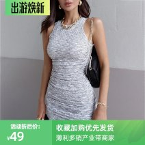 Dress Summer 2021 Gray, black S,M,L Short skirt singleton  Sleeveless street other High waist Solid color other One pace skirt other Others 18-24 years old Type H InstaHot Splicing 26343S 81% (inclusive) - 90% (inclusive) other polyester fiber Europe and America