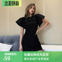 Dress Summer 2021 black S,M,L Short skirt singleton  Short sleeve street Crew neck High waist Solid color Socket One pace skirt other Others 18-24 years old Type H InstaHot 81% (inclusive) - 90% (inclusive) other polyester fiber Europe and America