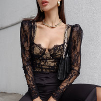 T-shirt black S,M,L Spring 2021 Long sleeves square neck Self cultivation Regular routine street polyester fiber 86% (inclusive) -95% (inclusive) 18-24 years old other Color matching InstaHot Stitching, lace Europe and America