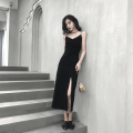 Dress Summer of 2019 black S M L XL longuette singleton  Sleeveless commute V-neck High waist Solid color Socket One pace skirt other Others 18-24 years old It woman / att girl Retro Stitched zipper split T08678917 More than 95% other Other 100% Pure e-commerce (online only)