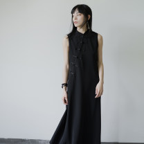 Dress Spring 2020 black S,M,L Mid length dress singleton  Sleeveless commute stand collar High waist Solid color other A-line skirt other Others 18-24 years old Type A Prefer to be short of Retro Button NQ170207065 More than 95% other polyester fiber