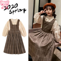 Dress khaki female Other / other 110cm,120cm,130cm,140cm,150cm,160cm Cotton 100% spring and autumn princess Long sleeves lattice Pure cotton (100% cotton content) Pleats RRM2003022354 Class B Four, five, six, seven, eight, nine, ten, eleven, twelve, thirteen Chinese Mainland Zhejiang Province