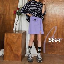 skirt Summer 2020 M, L Black, green, purple Short skirt street High waist A-line skirt Solid color Type A 18-24 years old cotton