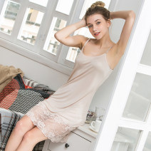 Nightdress Xu Huang M,L,XL sexy camisole Leisure home Middle-skirt summer Solid color middle age Crew neck silk Hollowing out 21% (inclusive) - 40% (inclusive) silk