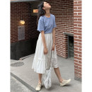 skirt Spring 2021 Average size white Mid length dress commute High waist A-line skirt Solid color Type A A1566 51% (inclusive) - 70% (inclusive) An Xiaoluo literature