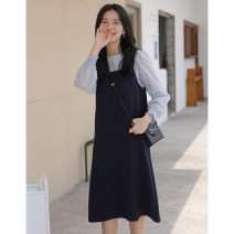 Dress Spring 2021 Navy blue, black Average size Mid length dress Two piece set commute other Solid color Socket A-line skirt routine Type A An Xiaoluo literature Y578 51% (inclusive) - 70% (inclusive)