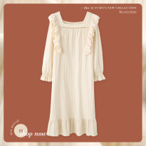 Nightdress Autumn 2020 Cotton 100% Pure e-commerce (online sales only) Sleep right / Mrs. slim Long sleeve Middle-skirt Sweet Solid color autumn square neck youth cotton lace pure cotton More than 95% XN3879 220g 160(M) 165(L) 170(XL) 175(XXL) Xn3879 - cream [in stock]