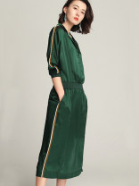 Dress Spring 2021 green S,M,L,XL Mid length dress singleton  three quarter sleeve commute V-neck middle-waisted Solid color Socket other other 30-34 years old Type A BEEWOOD/ Wutong literature Pocket, stitching, thread, button T1135 More than 95% other silk