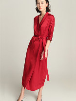 Dress Spring 2021 Red, black S,M,L,XL Mid length dress singleton  three quarter sleeve commute V-neck High waist Solid color Socket other other Others 30-34 years old Type A BEEWOOD/ Wutong literature Pockets, straps, buttons T1128 More than 95% Silk and satin silk