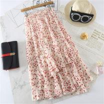 skirt Summer of 2019 Average size Red, black, white Mid length dress Versatile High waist Cake skirt Broken flowers 18-24 years old Chiffon Yunji