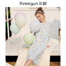 Nightdress Threegun / three guns Sweet Long sleeve Middle-skirt Leisure home Cartoon animation spring youth Crew neck cotton printing More than 95% cotton TG1937-70395A0 200g and below Spring 2020 Cotton 100% Same model in shopping malls (both online and offline) 160(M) 165(L) 170(XL) 175(XXL)