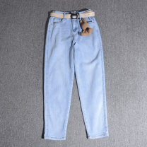 Jeans Spring 2021 Gray, blue 25,26,27,28 trousers Natural waist loose  routine 25-29 years old Cotton elastic denim 91% (inclusive) - 95% (inclusive)