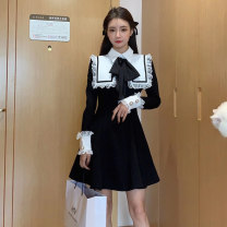 Dress Autumn 2020 black S,M,L Short skirt singleton  Long sleeves Sweet Admiral High waist Solid color Socket A-line skirt Princess sleeve 18-24 years old Type A Other / other Bowknot, stitching, lace 71% (inclusive) - 80% (inclusive) other polyester fiber college