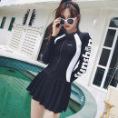 one piece  Bqueen XL,4XL,L,M,XXL,XXXL Black, blue, red, black and white, white and black Skirt one piece With chest pad without steel support Nylon, spandex, others female Long sleeves Casual swimsuit other